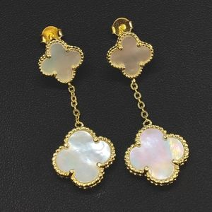 Mother Of Pearl Clover Drop Dangle Gold Color Earr